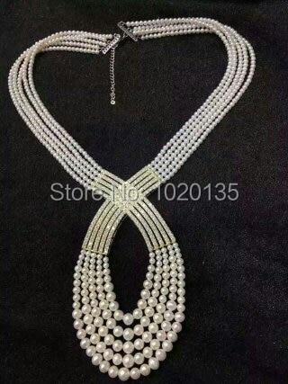 4 rangées d'eau douce perle blanche près de rond 6-8mm unique collier 21 pouces nature FPPJ perles