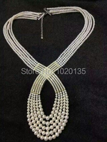 4rows freshwater pearl white near round 6 8mm unique necklace 21inch nature FPPJ beads