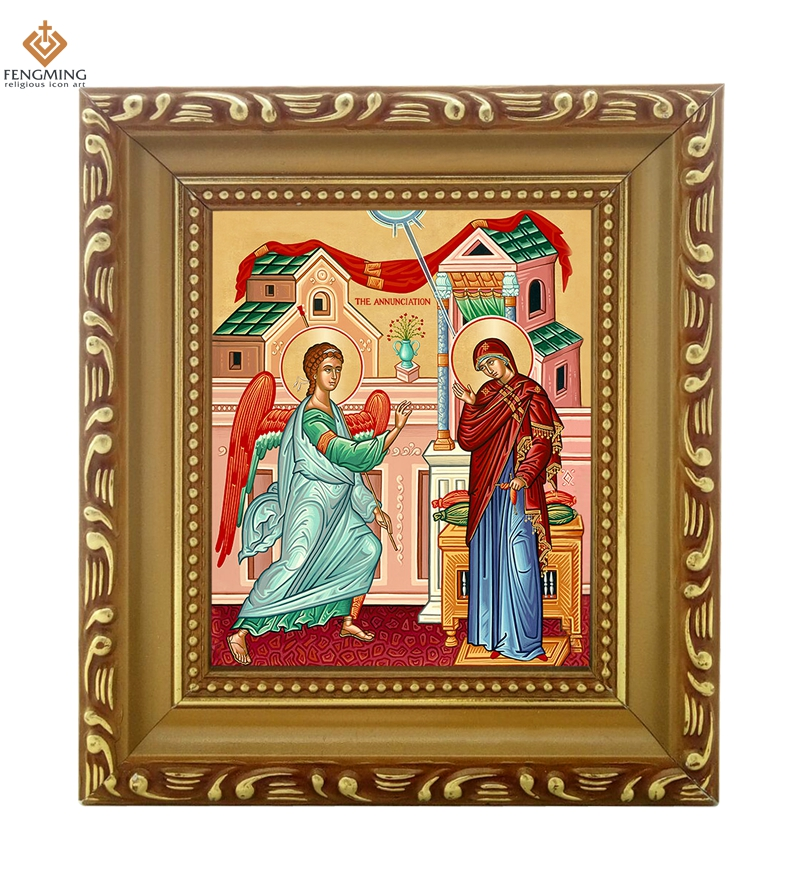 factory outlets cheap wood photo frame lcon of the annunciation orthodox religion byzantine art style religious