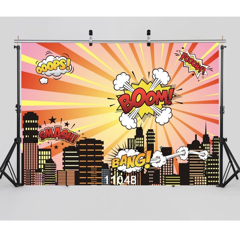SJOLOON kids photography backdrops super hero city scene photography background party background vinyl for photocall studio prop