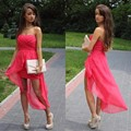 Long Pink Bridesmaid Dresses With Short 2017 Summer A Line Chiffon Plus Size Formal vestido Custom Party