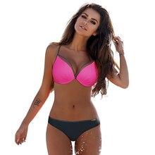 NIDALEE Pink Swimsuit Women Sexy Bordered Bikini Set Swimwear Hot Plus Size Swimming Suit Maillot De Bain