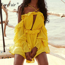 Forefair Ruffle Chiffon Long Sleeve Sexy Overalls 2019 Autumn Summer Elegant Cut Out Halter Off Shoulder Playsuit Women Rompers(China)