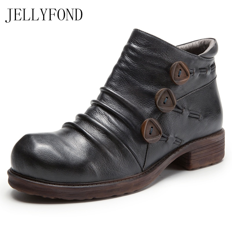 2017 JELLYFOND Women Ankle Boots Handmade Genuine Leather Buttons Western Cowboy Boot Retro Autumn Platform Shoes Woman nikbea handmade genuine leather western boots cowboy large size women pointed toe boots 2016 autumn shoes fashion botas mujers