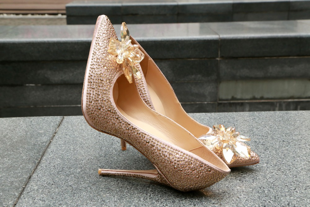 Sexy Woman Shoes Slip On Lady Party Stilettos Super High Heels Elegant Pointed Toe Flower Crystals Rivets Pumps Shoes Woman