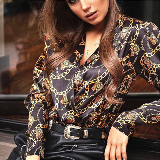 Fashion Women Password Chain Printed Vintage Blouse Shirts For Women Vogue High Street Cross Sexy V Neck Blouses Tops Lady Shirt 1