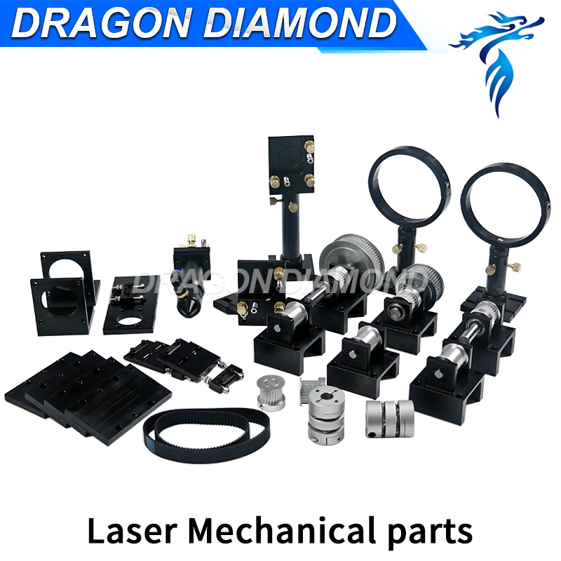CO2 Laser cutting engraving machine Parts Hardware Transmission Laser head Mechanical Components Tube holder motor base reducer the rail of laser machine 1490 include belt bear wheel motor motor holder mirror holder tube holder laser head etc