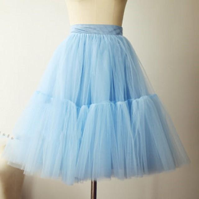 883068e2117b Pleated Light Blue Tulle Skirt Satin Zipper Waistline A Line Knee Length  Skirt Custom Made Fashion Tulle Skirts Women