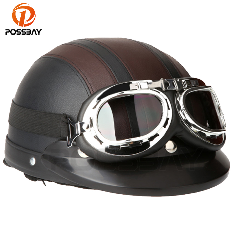 POSSBAY Motorcycle Helmets Scooter Open Face Half Leather Helmet&Visor UV Goggles Retro Vintage Style 54-60cm Professional Motos ...