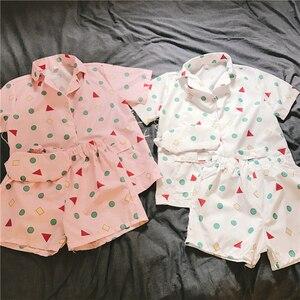 Image 2 - Yeni 2019 pijama setleri kadınlar baskı geometrik sevimli 3 adet Set kısa kollu üst + şort elastik bel + Blinder gevşek S83201