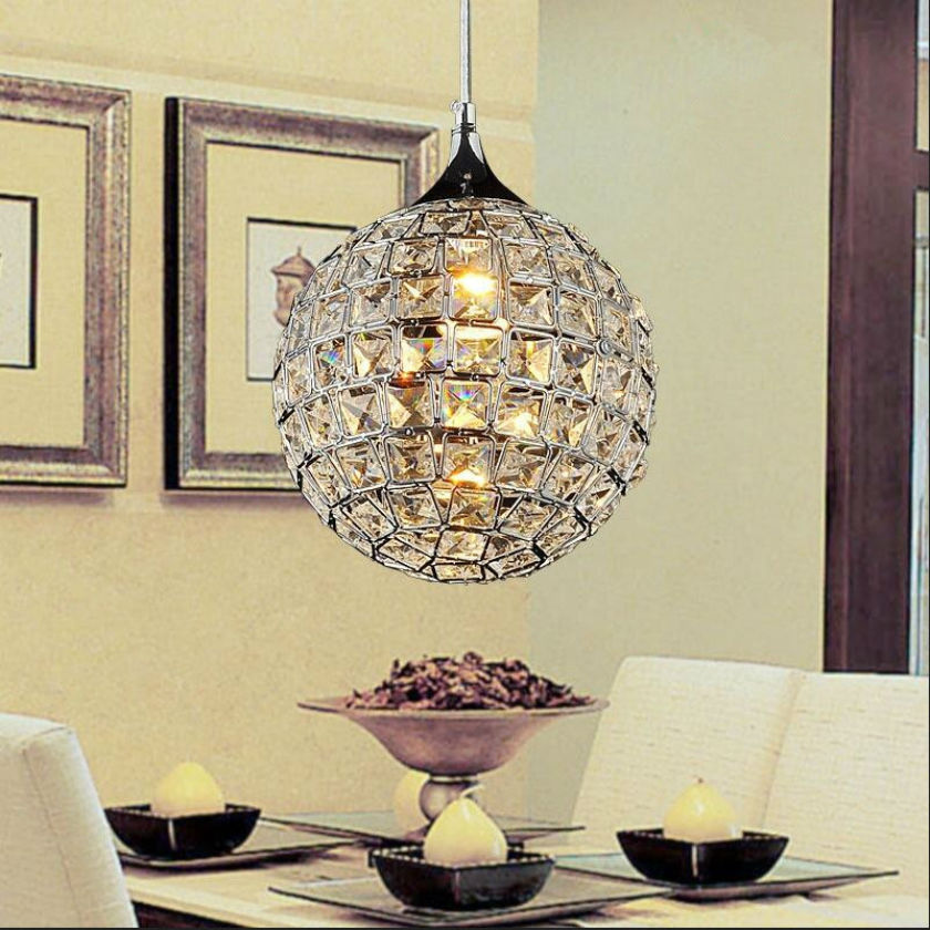 Modern LED K9 crystal chandelier Round stainless steel pendant lamp luster light Restaurant droplight E27 lamp 110V-260V D20cm vallkin modern round led pendant light clear k9 crystal and silver stianless steel d40cm 18w ce fcc rohs