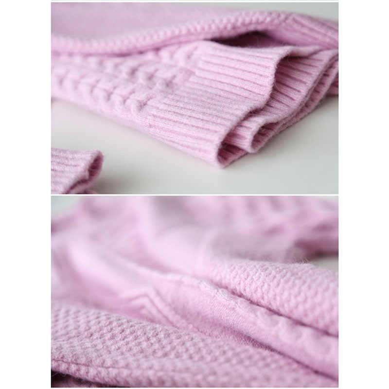 Pullover Female medium long 2019 new autumn winter loose plus size half high collar Tops ladies inside set thick knit coat women
