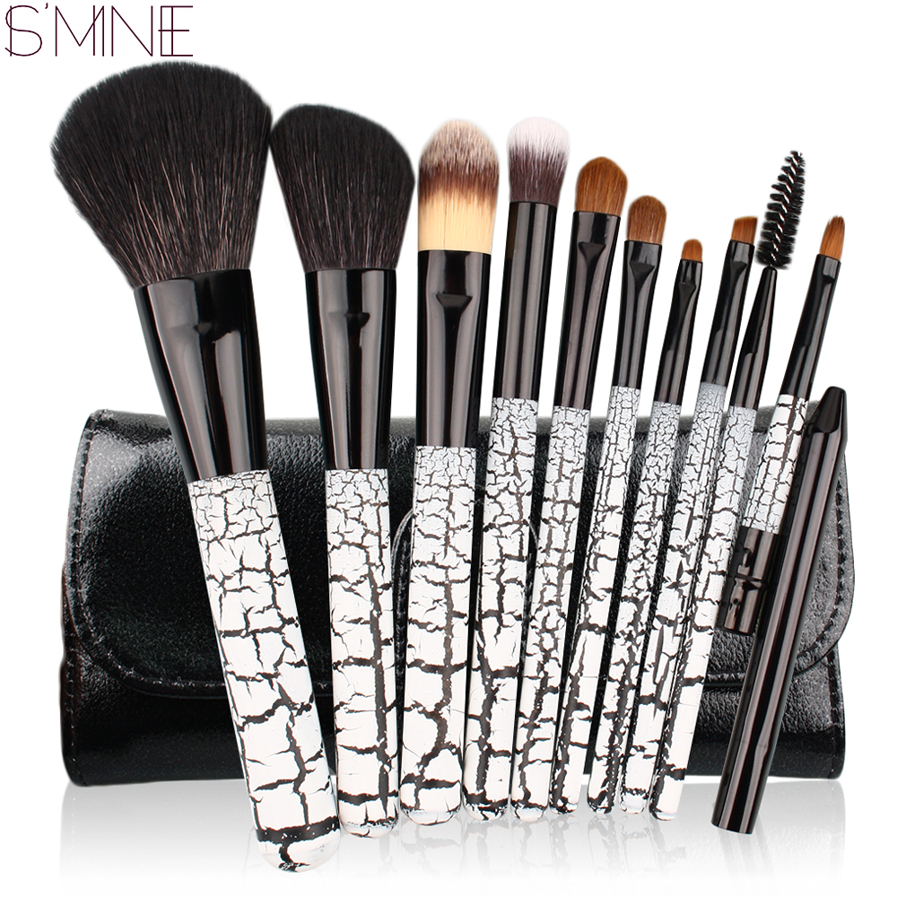ISMINE 10 Pcs Makeup Brush Set Pink/Black/Red Color Handle Professional Foundation Powder Cosmetic Tool Make Up Brushes with Bag 10pcs tooth brush shape oval makeup brush set multipurpose makeup brushes professional foundation powder brush kits make up tool