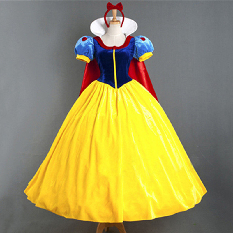 New Adult Womens Sexy Flannelette Halloween Party Snow White Princess Costumes Outfit Fancy Cosplay Dresses With Capes Size S-XL