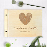 Wooden Wedding Bespoke Guest Book, Finger Print, Love, Rustic Guestbook, Rustic Writing, Laser Engraved Names Bride and Groom, P