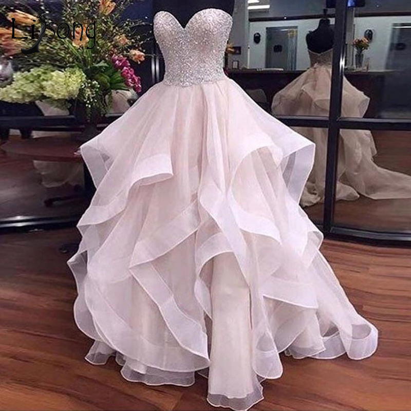 Pretty Pearl Pink Ruffles Wedding Dresses 2018 Sparkle Beaded Lace Bridal Gowns Off Shoulder Lace Up Plus Size Robe De Mariee