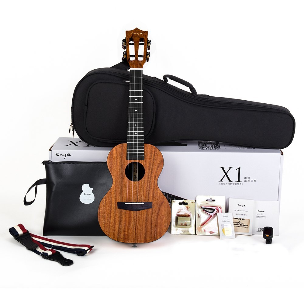 enya x1 23 26 inch ukulele hawaii guitar concert tenor koa with classical head with bag express. Black Bedroom Furniture Sets. Home Design Ideas