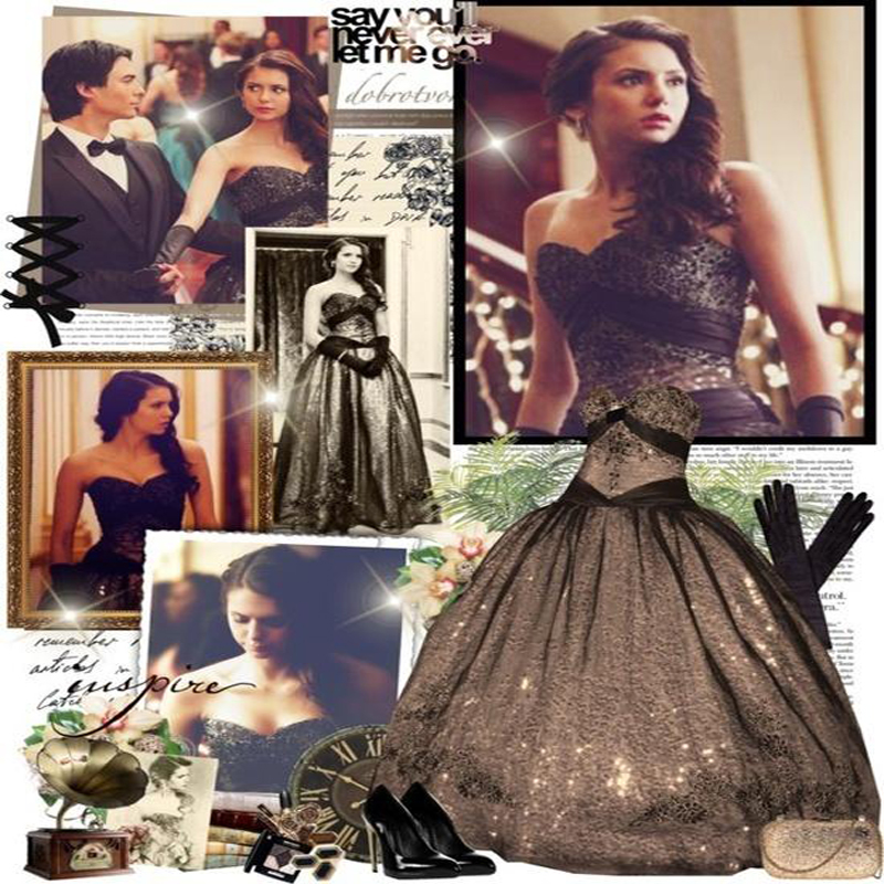 Vampire Diaries Gold And Black Dresses Gothic  Gown Real Image Size 4