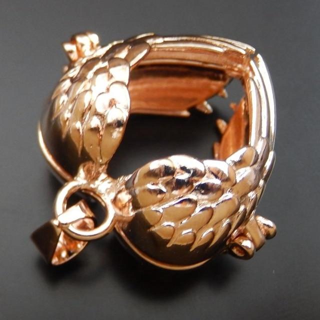 1PCS Rose Gold Alloy Heart Shape Hollow Locket Wish Box Pendant