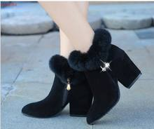 Large Size Women Boots Fashion black Pointed Toe High Heels Women's Shoes Sexy Autumn Winter Ankle Boots female(China)