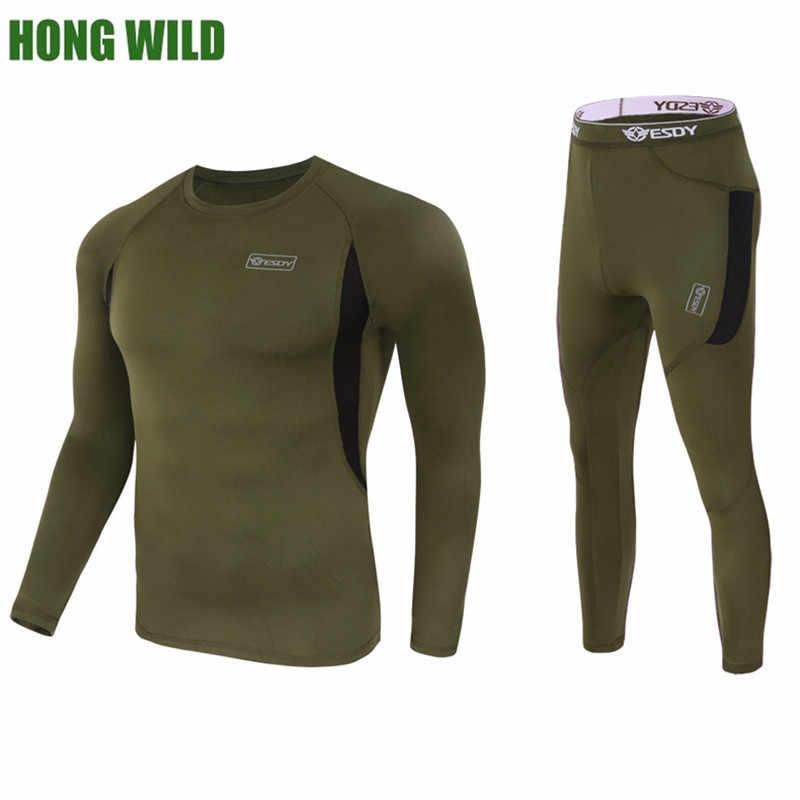 HONG WILD термобелье наборы сжатие флис пот быстрое потоотводящее Термобелье Нижнее белье Мужская одежда