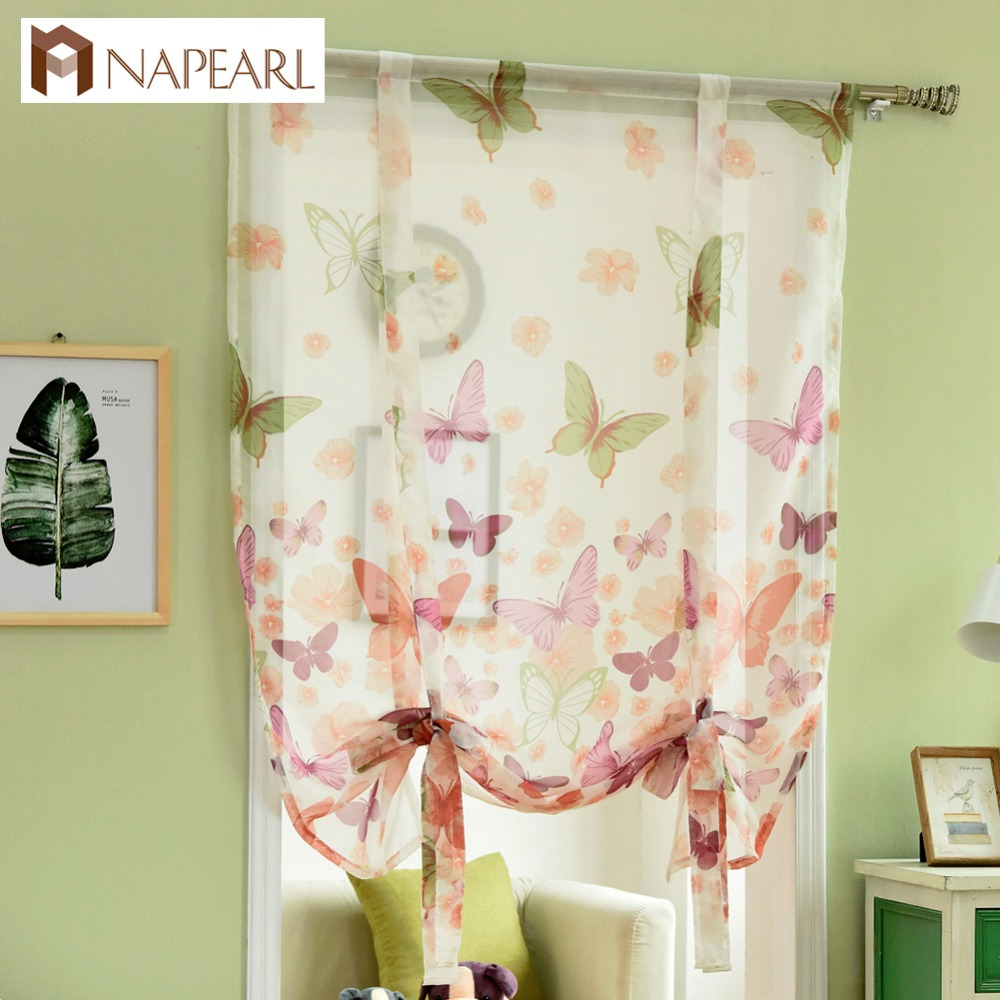 Kitchen Curtains Short Roman Curtains Butterfly Sheer Panel Door Curtains  Window Treatments Voile Tulle Curtain Window ...