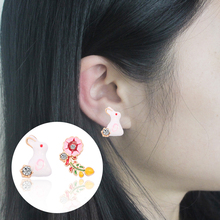Creative Earrings Color Enamel Cute Rabbit Safflower Leaves Beautiful Girl Dating Soft Jewelry Gift