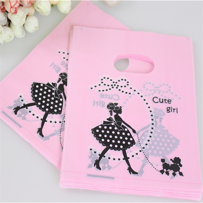 Hot Sale Wholesale 100pcs/lot 15*20cm Pink Cute Girl With Dog Plastic Shopping Bags Birthday Gift Packaging Bags