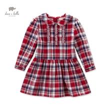 DK0463 дэйв белла осень детские девушки красный плед платье девушки сетки линия платье