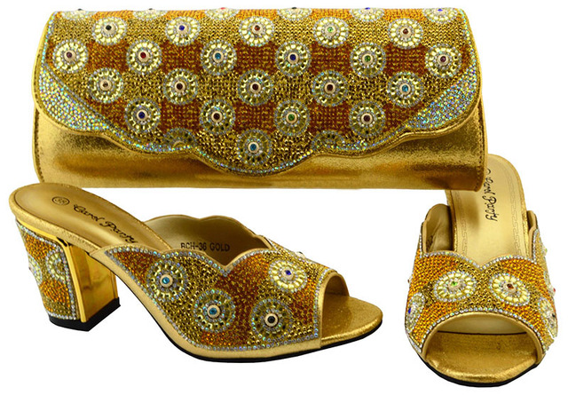 New Arrival 2017 Italian Gold Shoes And Bag Matching Set For African Wedding Party Sandal