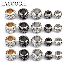 20pcs 3mm 5mm Hole Beads Gold Silver Gunblack Color Loose Spacer Round Crystal Charm Bead 9*7mm 7*5mm for Jewelry Findings
