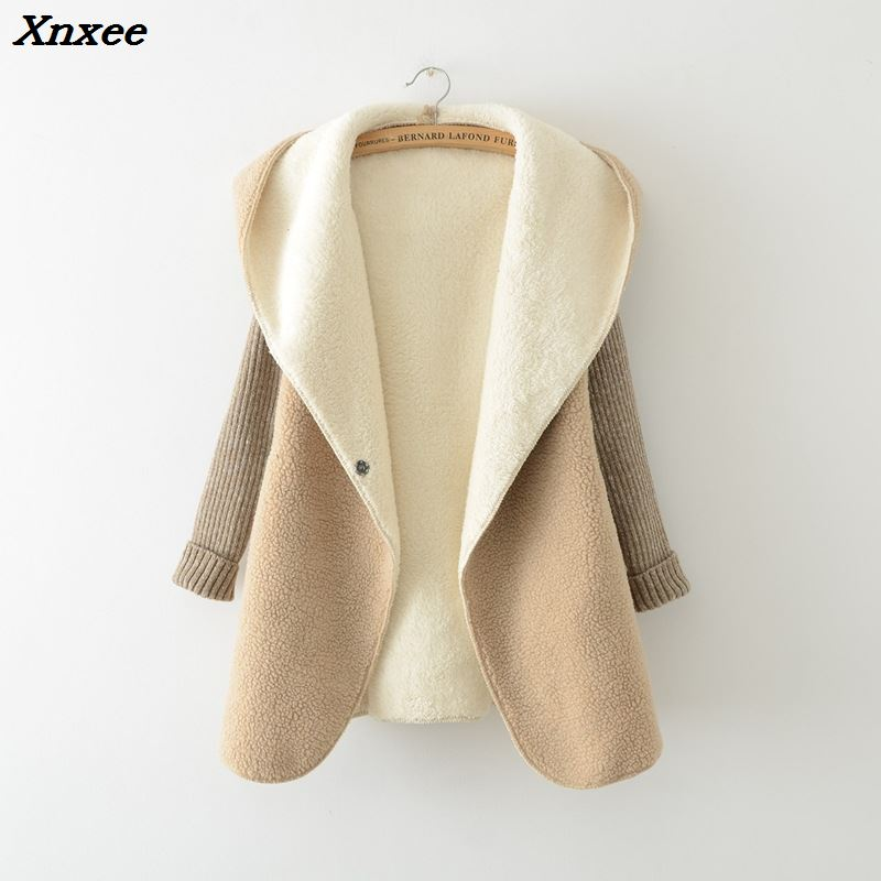 Autumn winter jacket Female cardigan jacket fashion thick wool stitching knit sweater women bat sleeve hooded sweaters warm coat