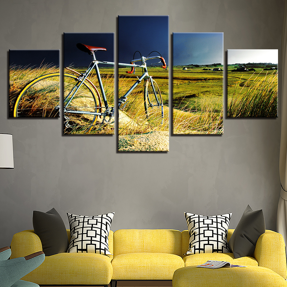 Canvas Paintings Home Wall Art Decor 5 Pieces Vintage Bicycle In The ...