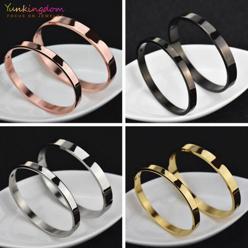 Yunkingdom 4 Colors Cool Gold white gold Stainless Steel Bracelets & Bangles for Men Women Bracelets Wide 4mm/6mm/8mm