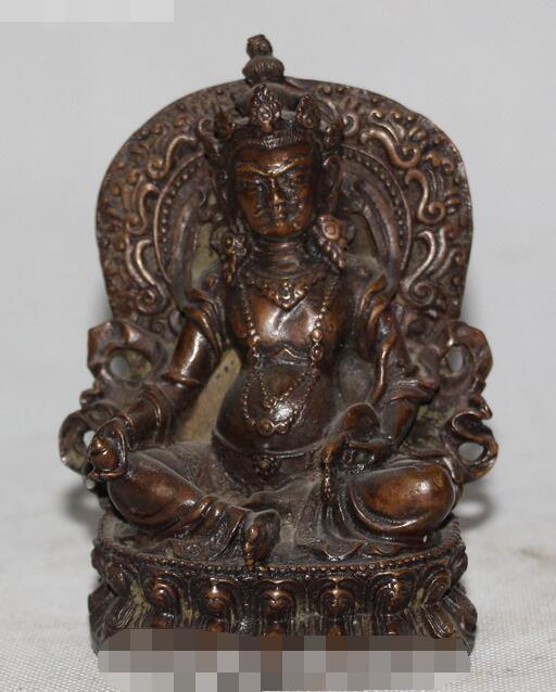 Antique Tibétain Bouddhisme Bronze Siège Jaune Jambhala Richesse Dieu Mammon Statue