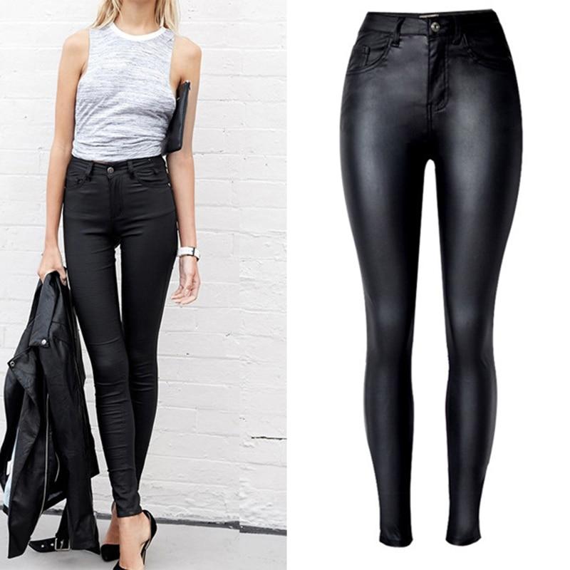 2017 Top Vogue Women's Clothing Slim Faux Leather Pants High Waist Motorcycle Models Black Coated PU Denim Pants Female Leggings