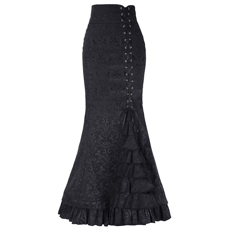 f8fb71be6691 Summer Vintage Mermaid Women Skirts Western Style Plain Pleated Lace-Up  Sexy Girls Popular Retro Pure Color Female Long Skirts