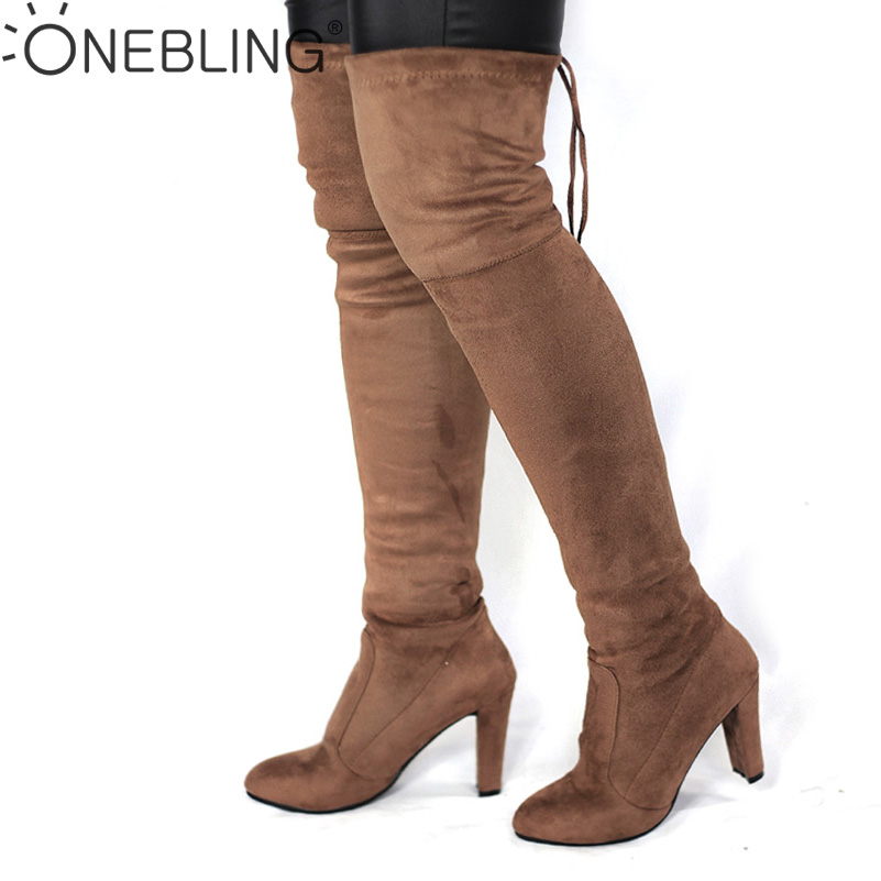 Spring Autumn Woman Boots Fashion Thigh High Heel Boots Sexy Over the Knee Stretch Silm Boot for Women Overknee Shoes Flock mudibear women fux suede thigh high boots fashion over the knee boot stretch flock sexy overknee high heels woman shoes red