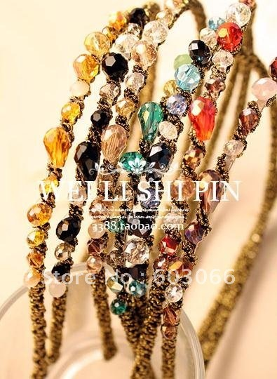 Hot Sale Korean colorful tire irregular crystal of gold hair hoop hair hairpin/fashion hair jewelry/ hair accessory 20/lot