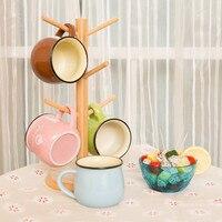 ONNPNNQ Durable Wooden Coffee Tea Cup Storage Holder Racks Stand Kitchen Hanging Display Rack Drinkware Shelf