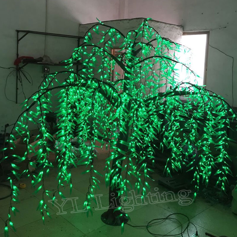2.0Meter high 2592leds outdoor artificial christmas willow trees with led lights for party holiday show decoration