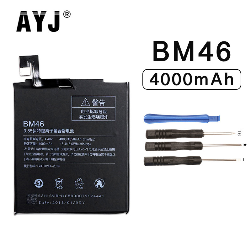 AYJ 2018 BM46 Battery For Xiaomi Redmi Note 3 Note3 Pro Replacement Phone Batteries 4000mAh High Capacity Free Tools image