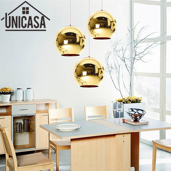 Gold Glass Shade Antique Pendant Lights Modern Kitchen Island lamps Office Bar Shop Lighting Fixtures Vintage Ceiling Lamp