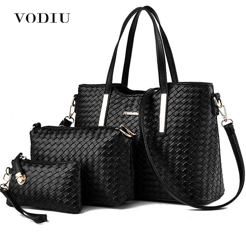 Handbag Female Women Bags Leather 3 Sets Composite Bag Weave Pattern Handbags And Purses Big Shoulder Messenger Bags Fashion 3 sets 2017 women handbags leather handbag women messenger bags ladies brand designs bag bags handbag messenger bag purse 3 sets