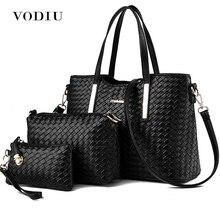 цены Handbag Female Women Bags Leather 3 Sets Composite Bag Weave Pattern Handbags And Purses Big Shoulder Messenger Bags Fashion