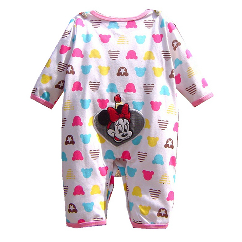 Cute Minnie Baby Girl Romper Long Sleeve Baby Clothes Roupa Infantil Macacao Ropa Bebe Jumpsuit Baby Rompers Infant Clothing penguin fleece body bebe baby rompers long sleeve roupas infantil newborn baby girl romper clothes infant clothing size 6m
