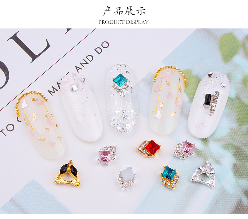 10pcs 3d nail art decoraitons Fox strass rhinestones nail charms geometrical square gems drops design jewelry JE284 JE297 in Rhinestones Decorations from Beauty Health
