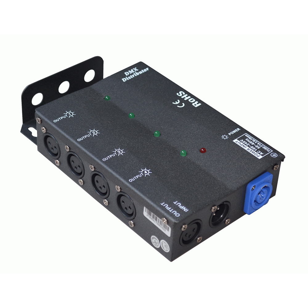 High quality 4ch DMX Splitter amplifier distributor 1in 4 out for stage light Steel material
