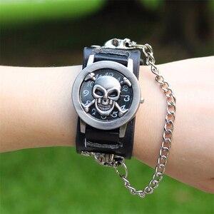 man women fashion Punk skull Bracelet Retro leather wristwatches unisex promotion classic retro Flip quartz watches