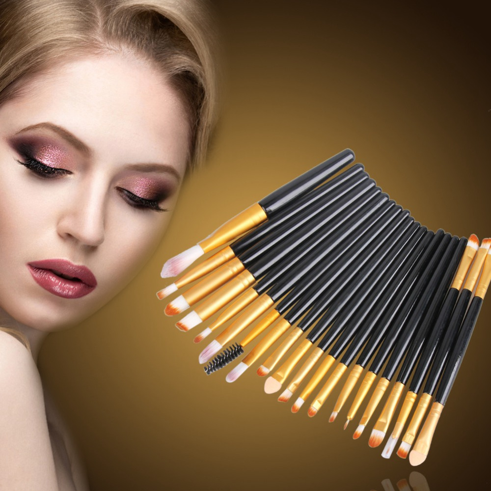 4/15 / 20pcs pennelli trucco Professional Foundation Ombretto Eyeliner Lip pinceis de maquiagem Pennelli cosmetici Pinceaux Tools